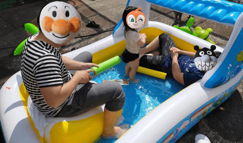 【庭遊び】ビニールプールで水遊び♪水鉄砲や水風船などおもちゃも使って楽しもう♪【子供用大型プール】