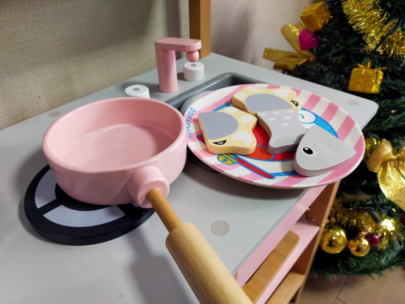 おままごとキッチンセットをプレゼント♪組み立てておままごとを楽しみました♪【クリスマス】