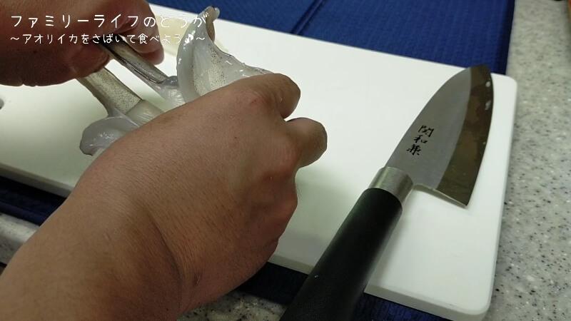 【アオリイカ】塩焼きと刺し身が絶品!さばいて調理に初挑戦!【さばき方や調理方法】エンペラの皮むき
